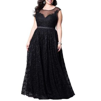 Vintgae Plus Size Lace Long Dress Black Evening Party Spring Sleeveless Patchwork Dress