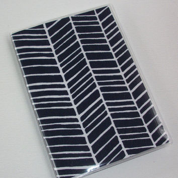 Passport Cover / Holder / Case - Herringbone navy blue