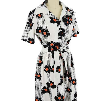 70s Mod Floral Knit Shirtwaist Dress-M