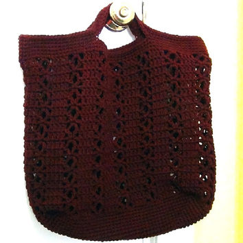 Crocheted Bag - Crochet Tote - Claret Red Market and Beach Tote Bag