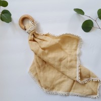 Wheat - Muslin Lovey with Teething Ring