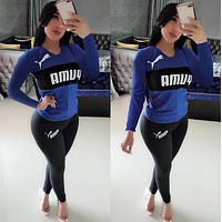 PUMA Women Fashion Letter Pullover Sweater Pants Set Two-Piece blue