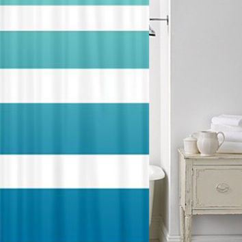 Beach House Chic Shower Curtain - Surfer Ombre Stripe - teal, blue, fade , art, minimalist, minimal decor