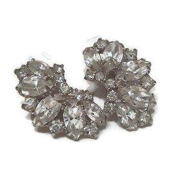 1940s 1950s Earrings, Vintage Signed Weiss Rhinestone Fan Shaped Clip Earrings, Wedding Bridal Jewelry