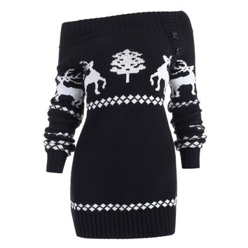 Autumn Winter 2018 Clothes Christmas Print Sweater Women Pullover Streetwear Off Shoulder Long Sleeve Knitted Sweater Pull Femme