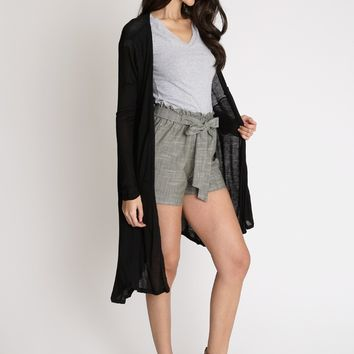 Homebound Longline Cardigan In Black | Ruche