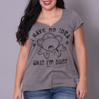 Plus Size Bobby Jack I Have No Idea Top - Charcoal