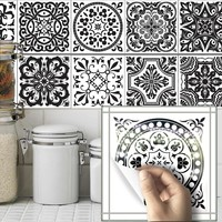 Funlife Bathroom Decor  Black and White  Tile stickers Wall Decals Home Kitchen Decoration Waterproof Wallpaper Wall Art TS018