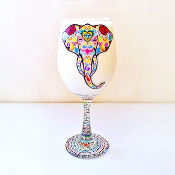 Elephant, Elephant Wine Glass, Sugar Skull, Sugar Skull Wine Glass, Elephant Gifts, Elephant Art, Elephant Glass, Sugar Skulls, Yoga Gifts