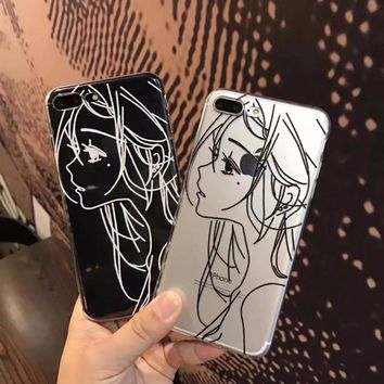 Fashion  simple Sketch girl TPU soft gel silicone clear case for iphone 6 6s 6 s 7 plus cases cover for iphone 8