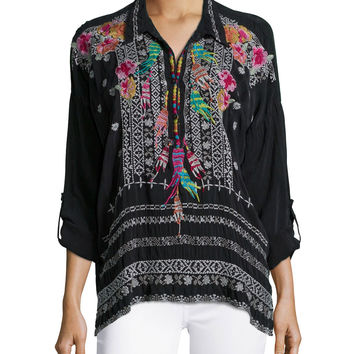 Indie Feather-Embroidered Blouse, Petite, Size: