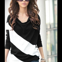 Fashion Long Sleeve Turn-Down Collar Pullover Cotton Striped Womens Blouses Batwing Tee