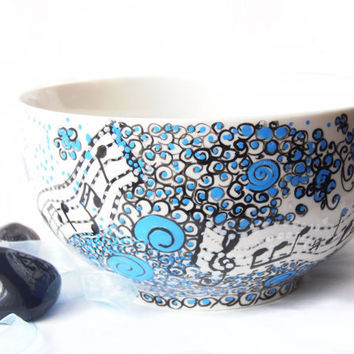 Blue Bowl Ceramic bowl breakfast soup bowl in by CraftUnikat