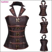 FeelinGirl Women Halter Neck Full Steel Boned Corset Brown Brocade Gothic Fashion Waist Cincher Trainer Training Overbust Bustier Steampunk Clothing = 1696614468