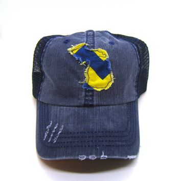Michigan Hat - Navy Blue Distressed Trucker Hat - Blue Gold Chevron Applique - All United States Available