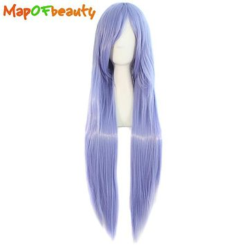 MapofBeauty long straight Nautral cosplay wigs Light Purple Costume Party Ladies 80cm 32inch Heat Resistant Synthetic Full Hair