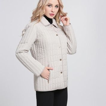 Ladies Jackets Autumn New Casual Coats Turn-down Collar High Quality Outerwear