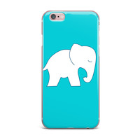 "NL Designs ""Cute Blue White Elephant"" Animals Blue iPhone Case"