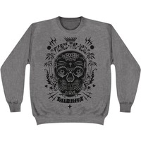 Pierce The Veil Men's  Sugar Skull Sweatshirt Grey