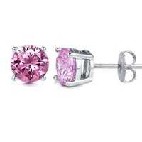 Pink 1.00 Carat Total Cubic Zirconia Sterling Silver Stud Earrings. Half a Carat Each Stone