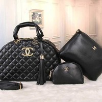 CHANEL Women Shopping Bag Leather Tote Handbag Shoulder Bag Two Piece Set