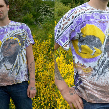 90's Native Tribe Indian Chief All Over Southwestern Print T Shirt