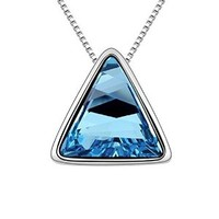 MLOVES Women's Classical Triangle Crystal Pendant Necklace