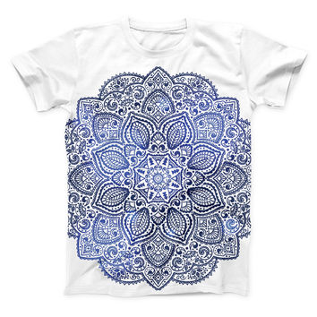 The Dark Blue Indian Ornament ink-Fuzed Unisex All Over Full-Printed Fitted Tee Shirt