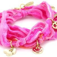 Ettika Fuchsia Knotted Vintage Ribbon Wrap Bracelet with Gold Colored Charms: Jewelry: Amazon.com