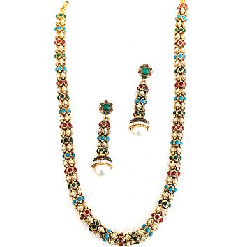 Unique tiny beaded bold Pipe Chain Necklace and Earring set f306267907