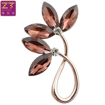 ZHEN TOMOMI Especially Simple Flower Crystal Brooch Pin Scarf Buckle Corsage Birthday Wedding Party Clothing Accessories Jewelry
