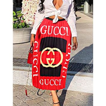 GUCCI Fashion New Letter Print Women Pleated Skirt Red