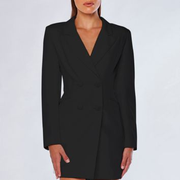 New fashion women's lapel Slim thin long-sleeved double-breasted long blazer