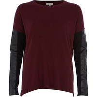 River Island Womens Dark red leather-look sleeve sweater