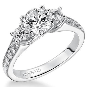 "Artcarved ""Natalia"" Three Stone Diamond Engagement Ring"