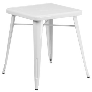 Tolix Style 24'' Square White Metal Indoor-Outdoor Table