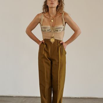 1970's YSL Silk Pleated Pant