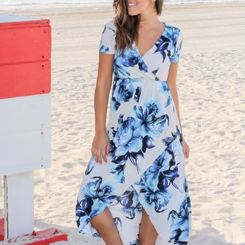 Ivory and Blue Floral High Low Dress with Short Sleeves