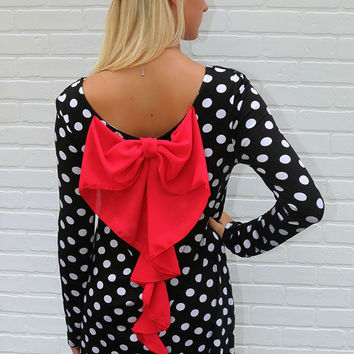 Connect the Dots Black & White Polka Dot Dress with Red Bow