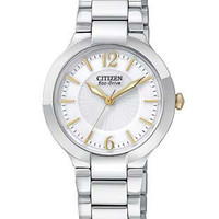 Citizen Eco-Drive Ladies Two-Tone Firenza Watch - White Dial with Gold-Tone