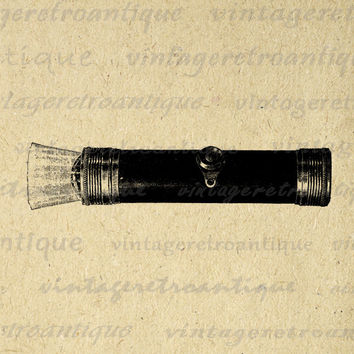 Printable Graphic Antique Flashlight Image Illustration Download Digital Vintage Clip Art for Transfers etc HQ 300dpi No.1100