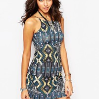 Boohoo Strappy Bodycon Dress In Aztec Print