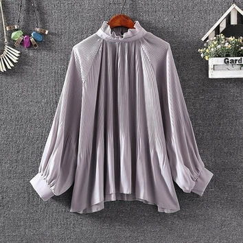 New  Fashion Elegant Pleated Chiffon Blouse Button Shirt Stand Collar Lanterns Sleeves Blusas Loose Women Tops Plus Size SM6