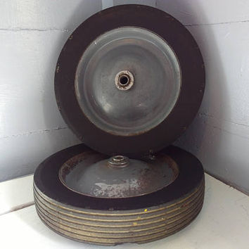 Vintage, Metal, Hard Rubber, Wheel, Cart Wheels, Dolly  Wheels, Replacement, Hardware, Industrial Wheels,  RhymeswithDaughter