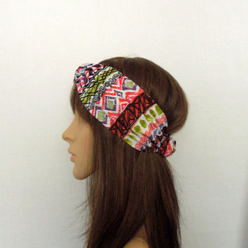 Red Aztec Turban Headband