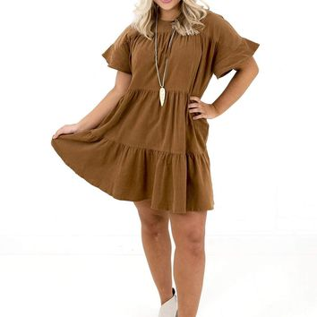 Women's Corduroy Tiered Dress
