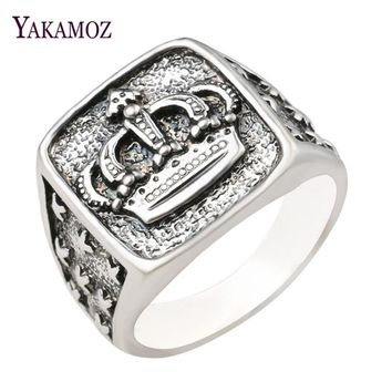 YAKAMOZ New Arrival King Queen Crown Signet Ring for Men Women Vintage Silver Color Carving Stars Punk Party Jewelry Gifts