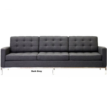 Mid Century Modern Sofa Cashmere Wool Blend Buttoned Style 3 or 2 Seat New In Box *Free Shipping*  MCM Sofa Modern Sofa