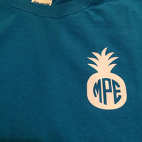 Preppy Pinapple Monogram T- shirt, Christmas gift, party favor, bridesmaid gift