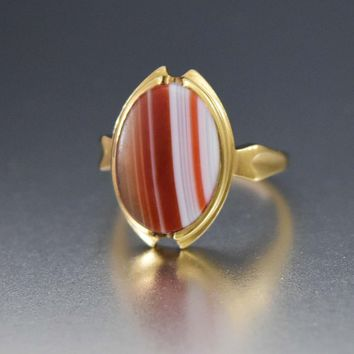 Antique Banded Agate Carnelian 10K Gold Pinky Ring